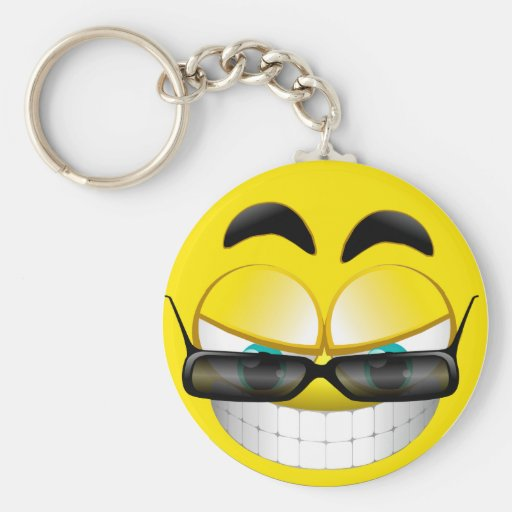 SMILEY FACE WITH SUNSHADES KEYCHAIN
