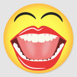 Smiley Face Yellow Laughing Emoticon Round Sticker