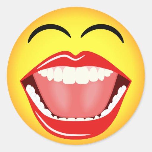 Smiley Face Yellow Laughing Emoticon Round Sticker Round Sticker