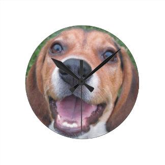 Smiley Faced Beagle Puppy Clock