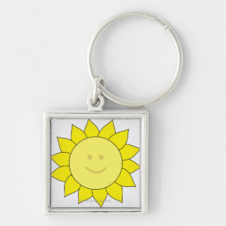 Smiley-Faced Sunflower Keychain