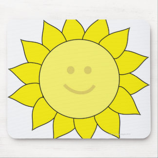 Smiley-Faced Sunflower Mouse Pad