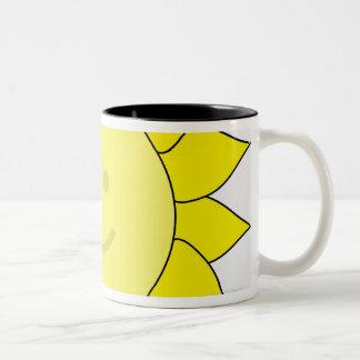 Smiley-Faced Sunflower Two-Tone Coffee Mug