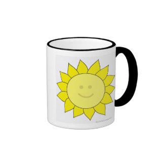 Smiley-Faced Sunflower Ringer Coffee Mug
