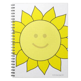 Smiley-Faced Sunflower Spiral Notebooks