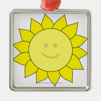 Smiley-Faced Sunflower Square Metal Christmas Ornament