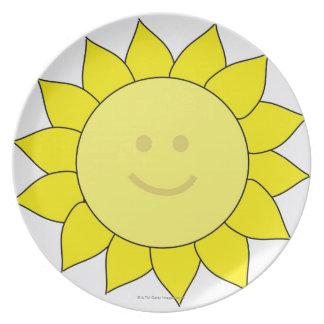 Smiley-Faced Sunflower Dinner Plate