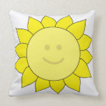 Smiley-Faced Sunflower Throw Pillow