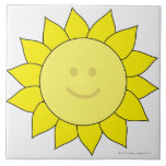 Smiley-Faced Sunflower Tile