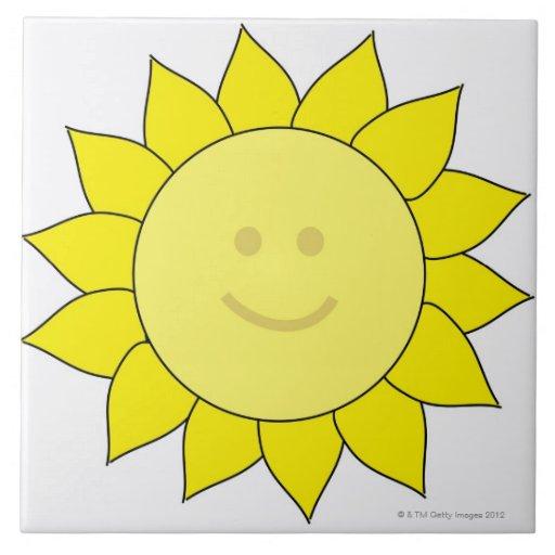 Smiley-Faced Sunflower Tile