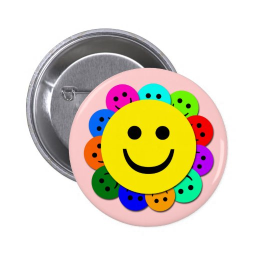SMILEY FACES 2 INCH ROUND BUTTON