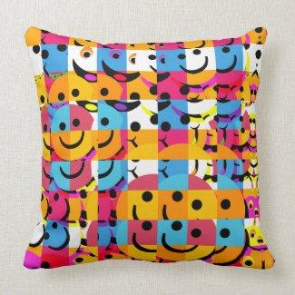 Smiley Faces Abstract Throw Pillow mojo_throwpillow