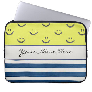 Smiley Faces and Navy Blue Stripes Laptop Sleeve