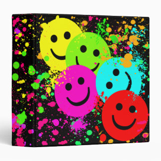 Smiley Faces and Paint Splatter 3 Ring Binders