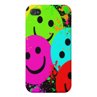 Smiley Faces and Paint Spler  Case For iPhone 4