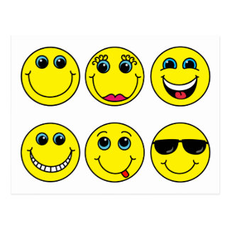Smiley Faces Characters Postcard