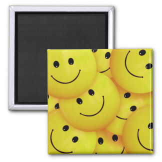 Smiley Faces Everywhere 2 Inch Square Magnet