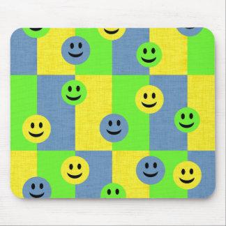 Smiley Faces Green Yellow Blue Fun Custom Mousepad