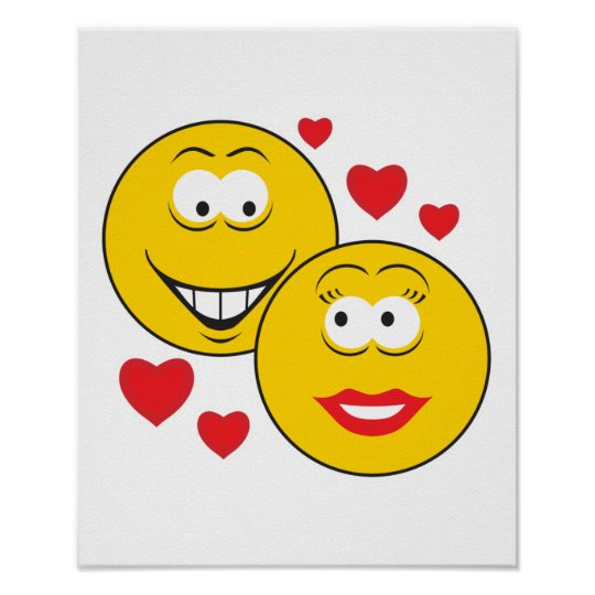 Smiley Faces in Love Valentine Poster