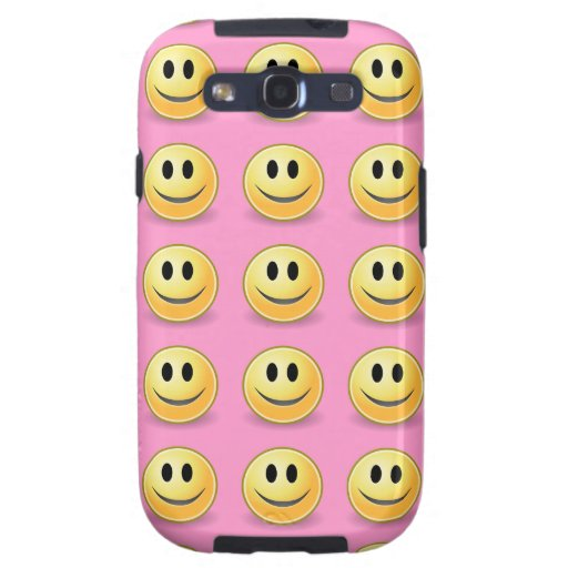 Smiley Faces on Green Samsung Galaxy Case Pink