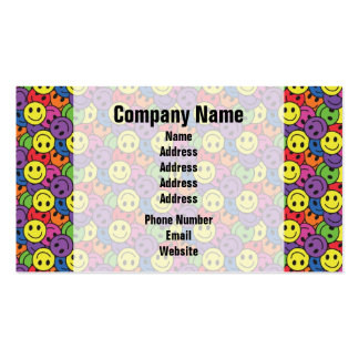 Smiley Faces Retro Hippy Pattern Business Card