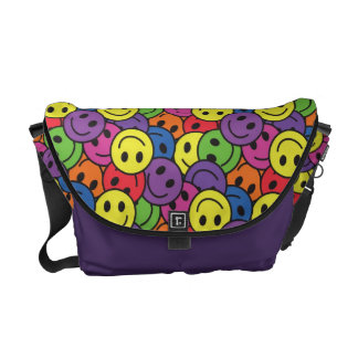 Smiley Faces Retro Hippy Pattern Courier Bags