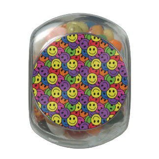 Smiley Faces Retro Hippy Pattern Glass Candy Jar