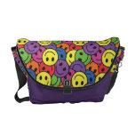 Smiley Faces Retro Hippy Pattern Messenger Bag