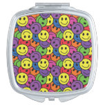 Smiley Faces Retro Hippy Pattern Mirror For Makeup