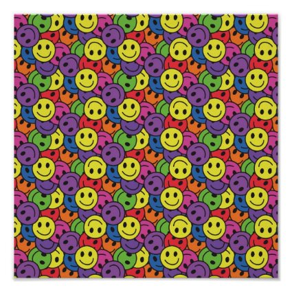Smiley Faces Retro Hippy Pattern Poster
