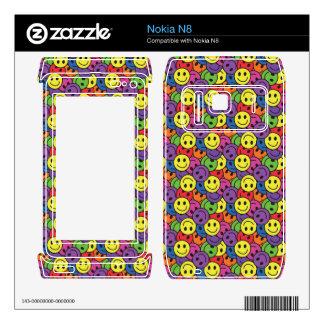 Smiley Faces Retro Hippy Pattern Nokia N8 Decals