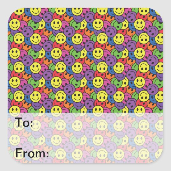 Smiley Faces Retro Hippy Pattern Square Sticker