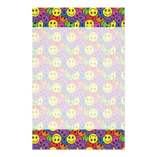 Smiley Faces Retro Hippy Pattern Stationery