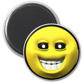 Smiley feliz amarillo imán de nevera