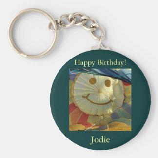 ¡Smiley, feliz cumpleaños! Llavero Redondo Tipo Pin