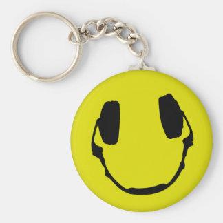 Smiley feliz del auricular llavero redondo tipo pin
