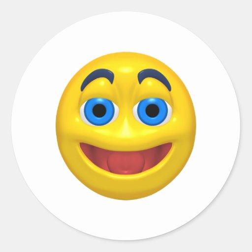 Smiley feliz del smilie pegatina redonda