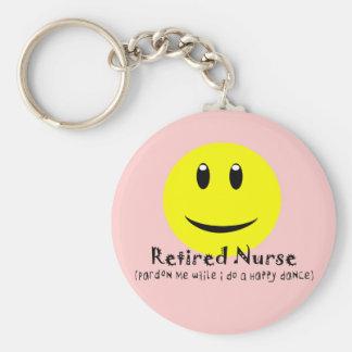 SMILEY FELIZ jubilado de la DANZA de la enfermera Llavero Redondo Tipo Pin