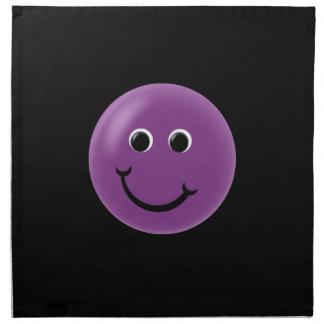 Smiley feliz púrpura servilletas imprimidas