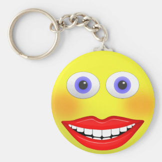 Smiley Female With Big Smile Round Button Keychain