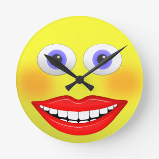 Smiley Female With Big Smiling Mouth Round Clock