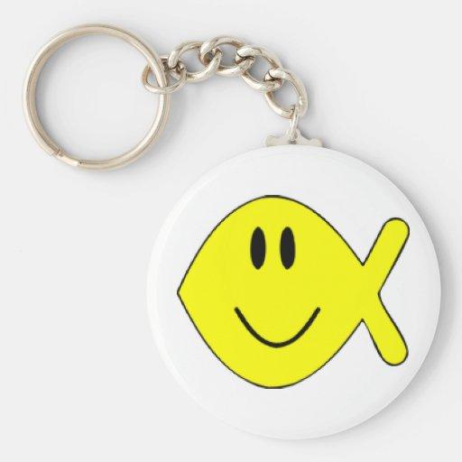 smiley fish 1 basic round button keychain