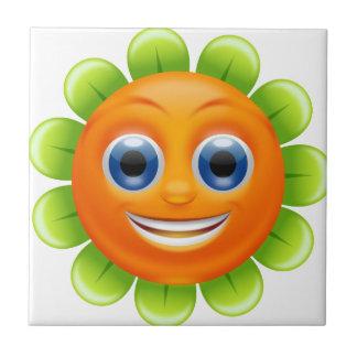 Smiley flower ceramic tile