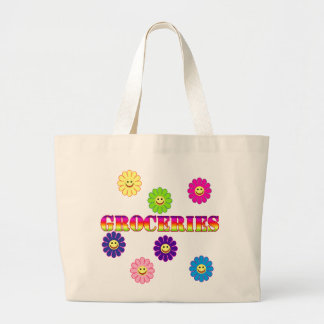 SMILEY FLOWER GROCERY TOTE CANVAS BAGS
