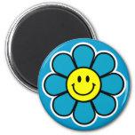 Smiley Flower Magnet (Blue)