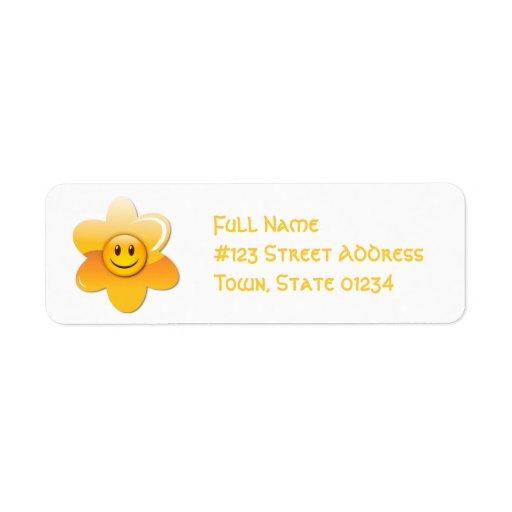 Smiley Flower Mailing Labels