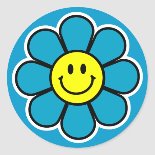 Smiley Flower Stickers (Blue)