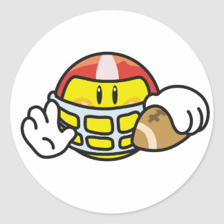 Smiley Football Classic Round Sticker