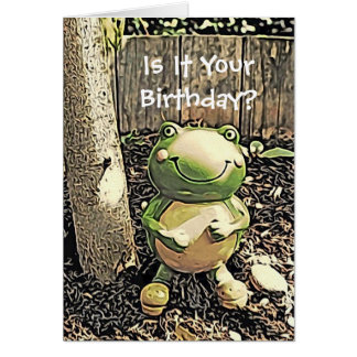 Smiley Frog and Tree Birthday Card