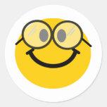 Smiley Geeky Pegatina Redonda